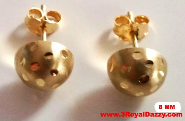 14k Yellow gold layer on 925 Sterling Silver Half Round Flat Ball Stud Earrings 8 MM