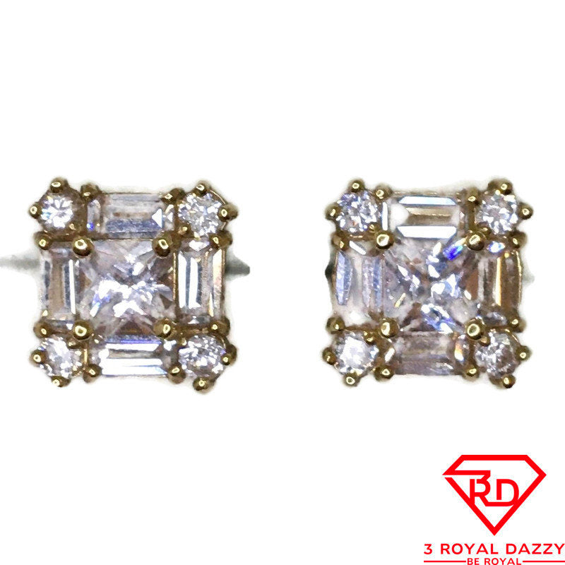 14K 3 type Cubic Zirconia medium Stud Earrings of Yellow gold