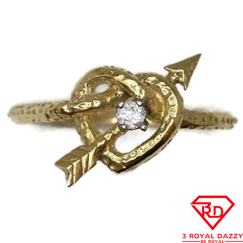 14K Arrow and Heart ring Diamond and yellow gold