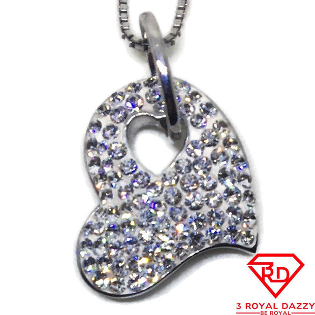 Curvy Heart with CZ small charm pendant White gold on Silver
