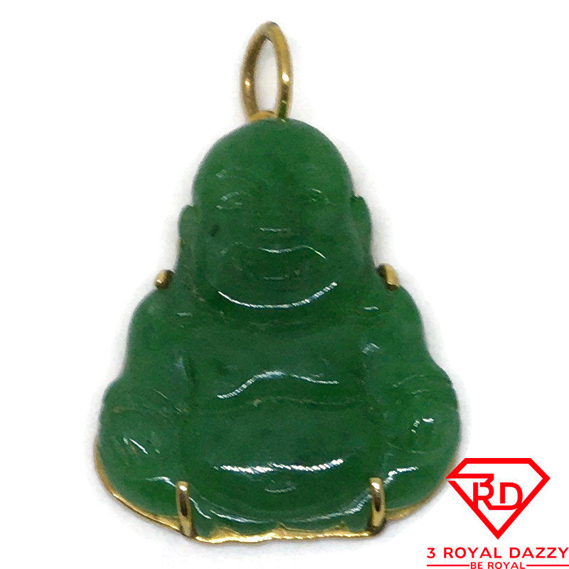 Small fat Budai green Jade charm pendant 14k Solid Yellow gold