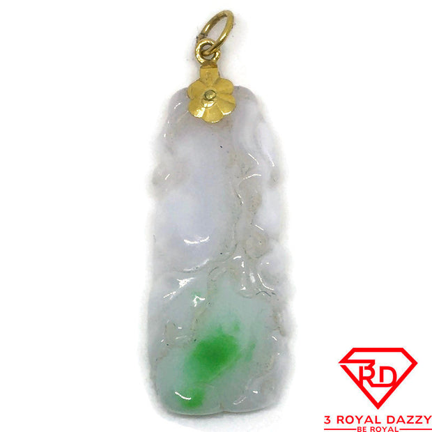 Long Light green Jade charm pendant 14k Solid Yellow gold