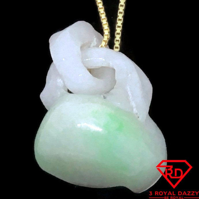 Handcraft Pouch Unique Smooth White Jade Pendant Charm