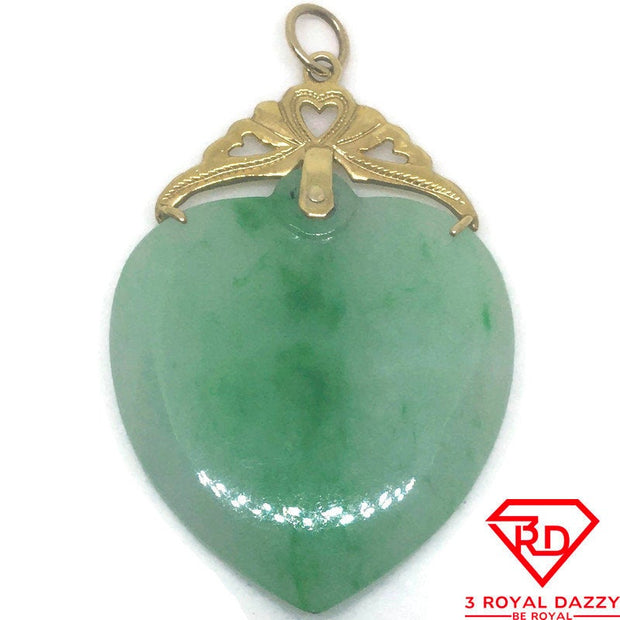 Large Heart Green Jade charm pendant 14k Yellow gold Solid