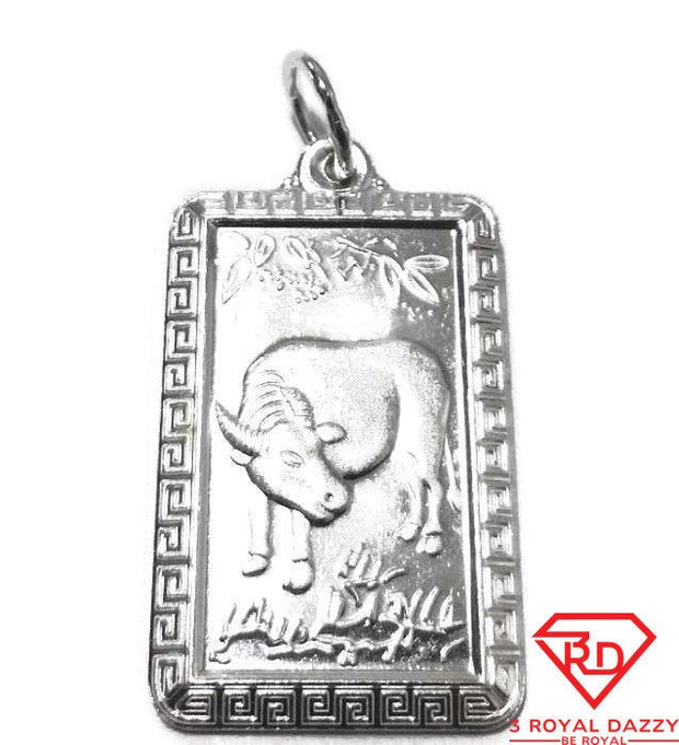 New chinese zodiac horoscope 999 fine silver rectangle year of ox pendant charm