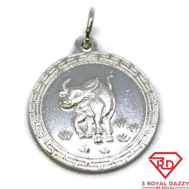 NEW .990 Sterling Silver Year of the Ox Lucky Chinese Pendant