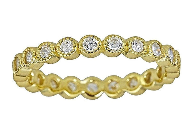 14k yellow gold on silver antique style bezel set eternity stackable ring band-7