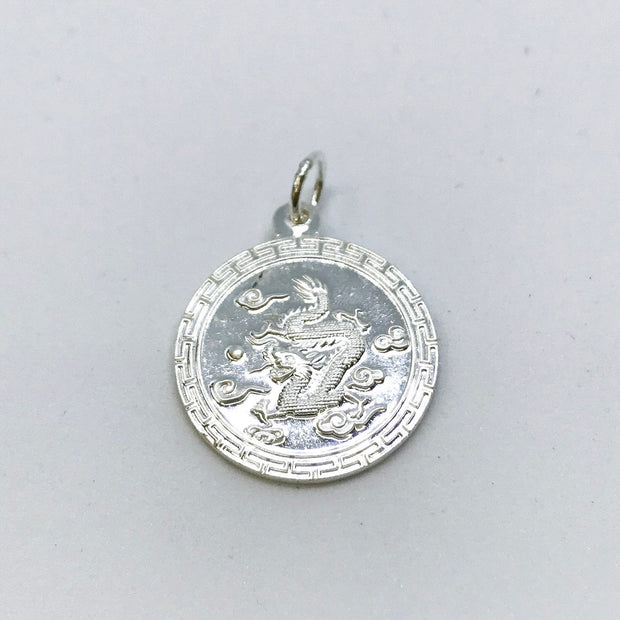 NEW .990 Sterling Silver Year of the Dragon Lucky Chinese Pendant