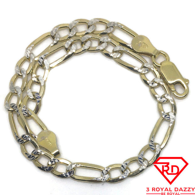Thin Figaro link Chain 8 inch Bracelet 14K Yellow Gold Layer