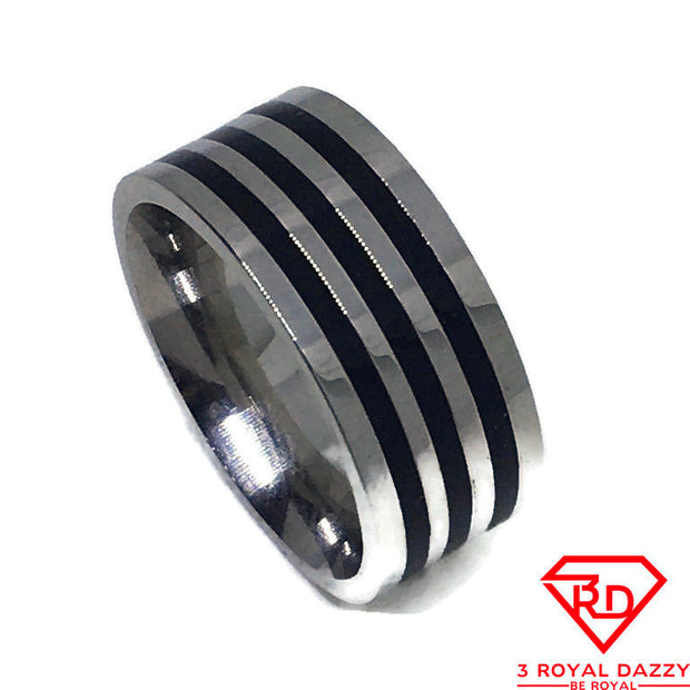 Zebra Pattern Ring white gold on Stainless Steel (size 5)
