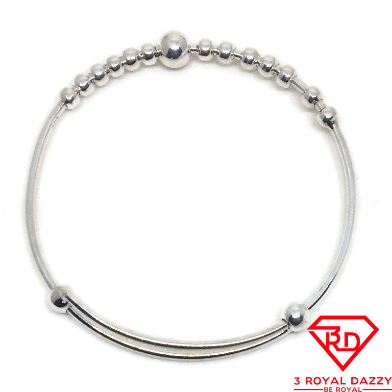 Round beads Baby Toddler Bangle Bracelet 925 Silver