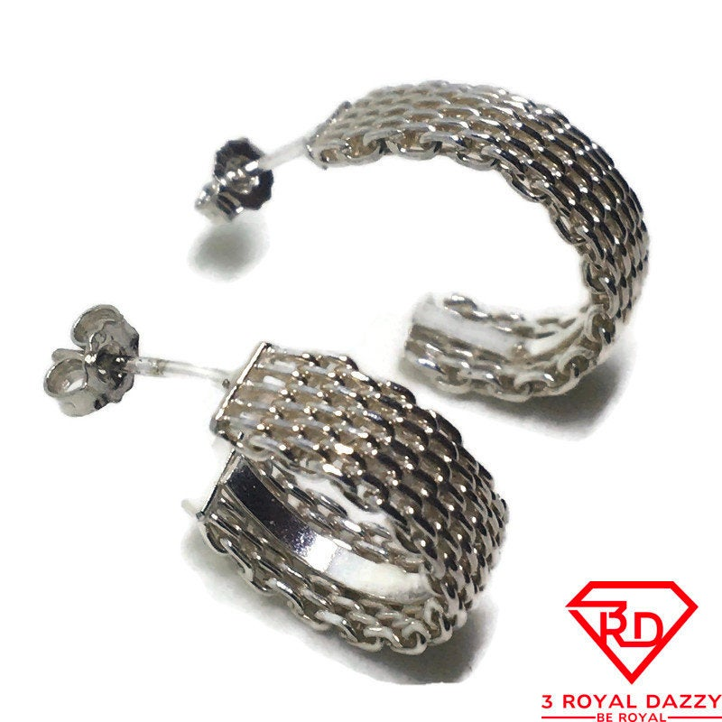 Curved Chain style Stud Earrings 925 Sterling Silver