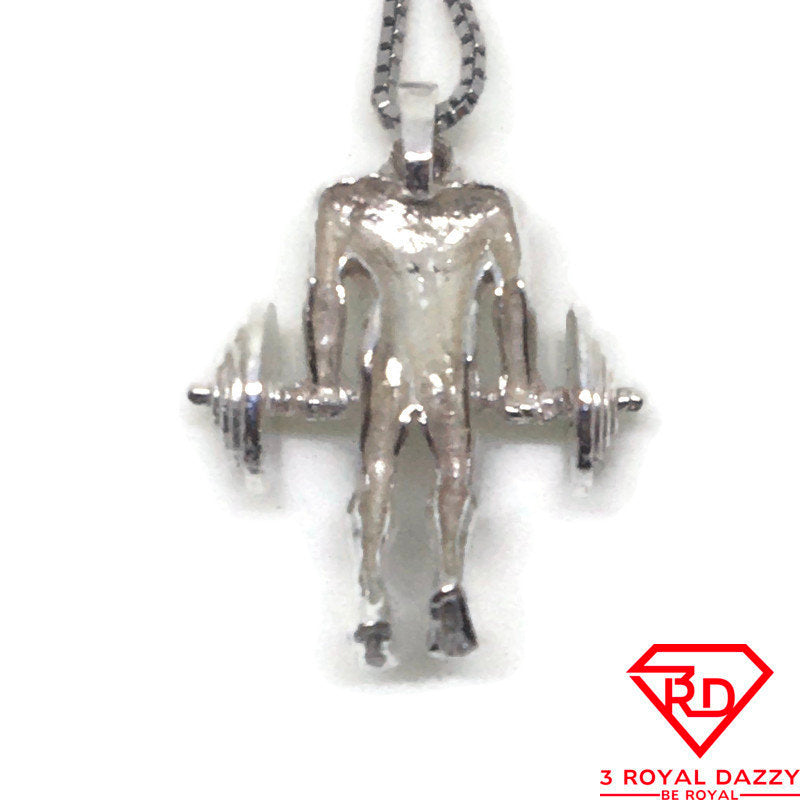 Men Weight Lifting charm pendant 925 Sterling Silver