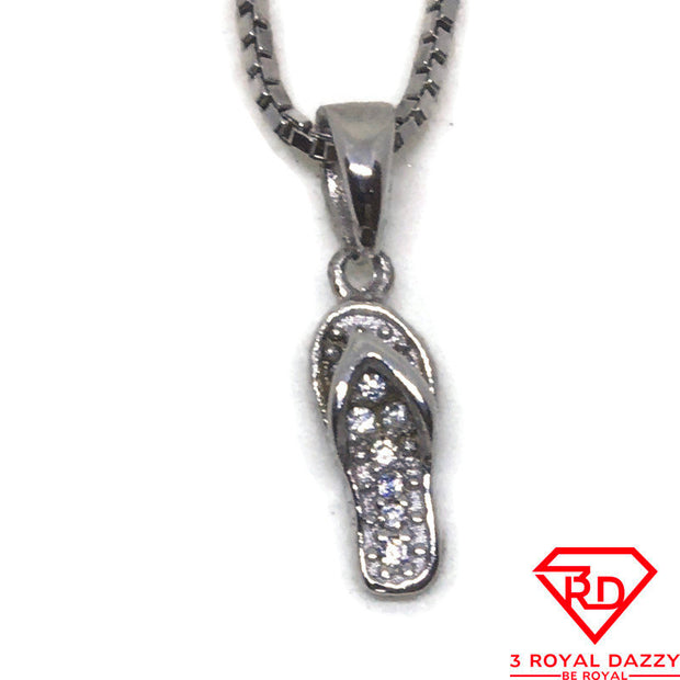 Tiny Flip Flop CZ charm Pendant White Gold layer