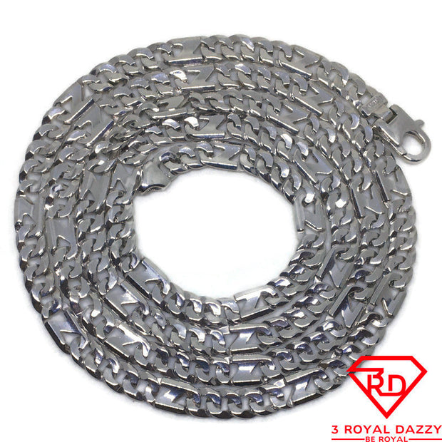 "Figaro-like Chain 28"" Necklace White gold Layer"
