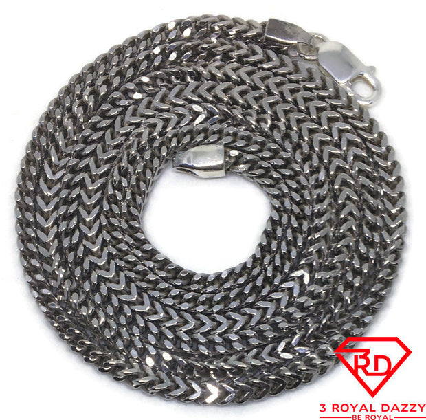 "Long Franco Chain 32"" Necklace White gold Layer"