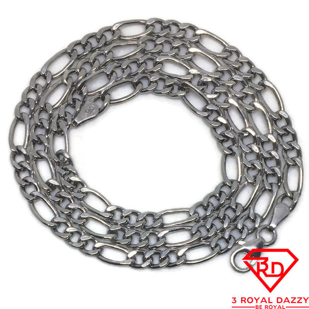 "Hollow Figaro Chain 18"" Necklace White gold Layer"