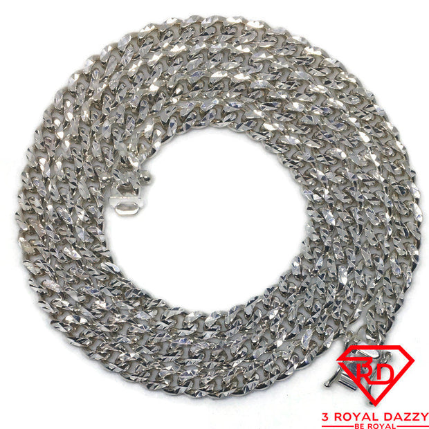 Double Miami Cuban Chain 24 inch Necklace 925 Silver
