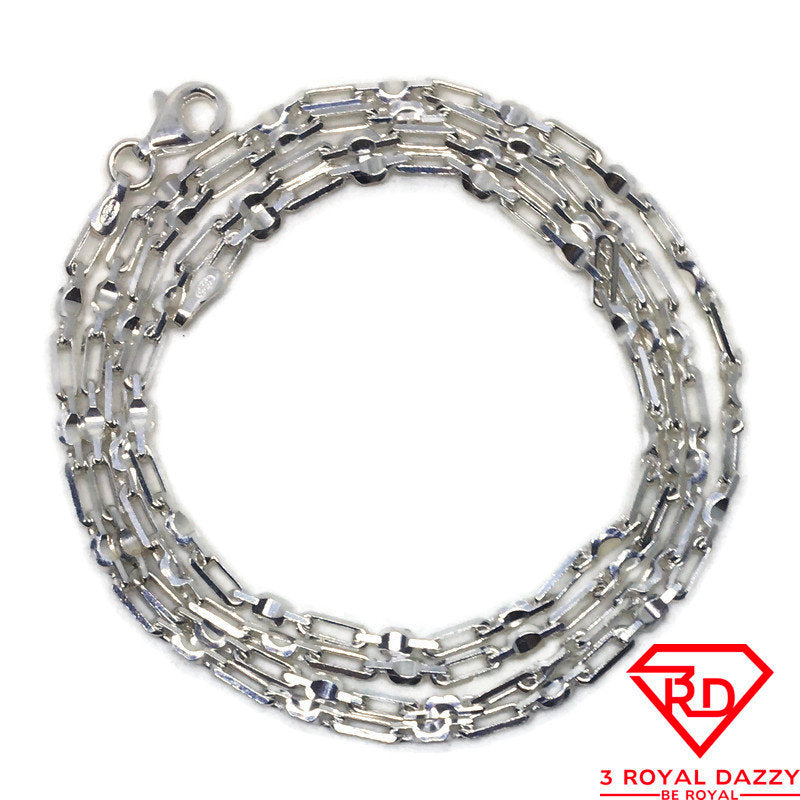 Thin Artistic link Chain 24 inch Necklace 925 Silver