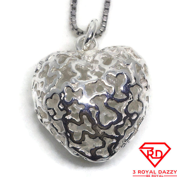 Hollow Heart charm Pendant 925 Solid Silver
