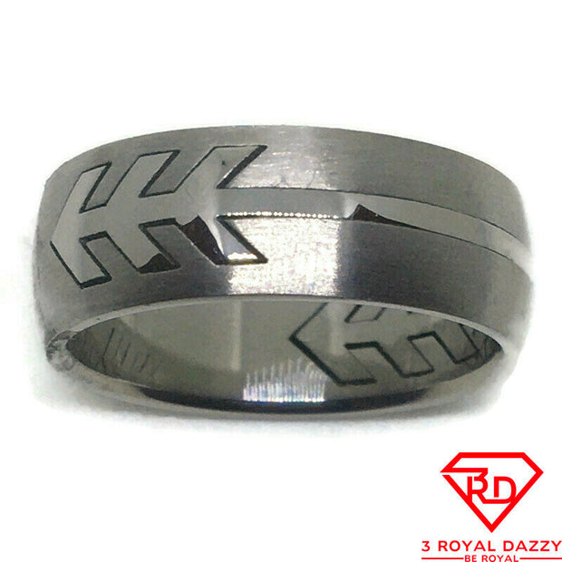Arrow patterns Smooth Stainless Steel Ring S11