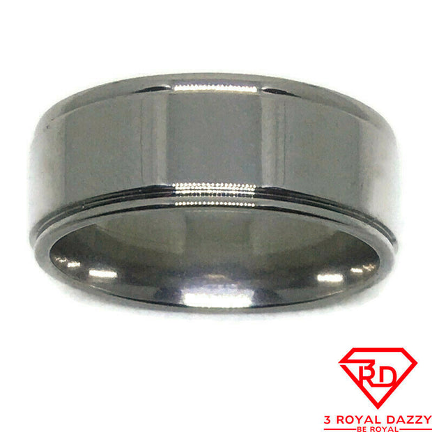 Side lines Plain Smooth Stainless Steel Ring S10