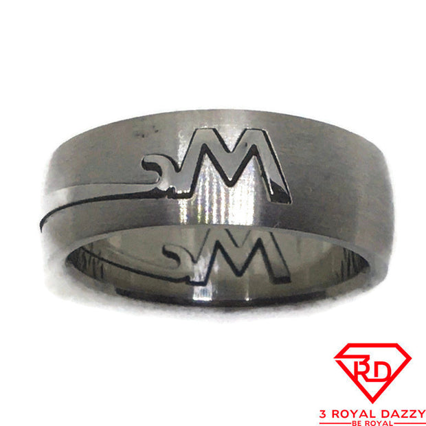 M or W patterns Smooth Stainless Steel Ring S8