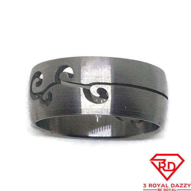 Curly patterns Smooth Stainless Steel Ring S7