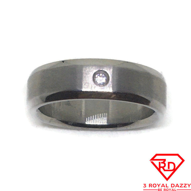 White round CZ Smooth Stainless Steel Ring S8