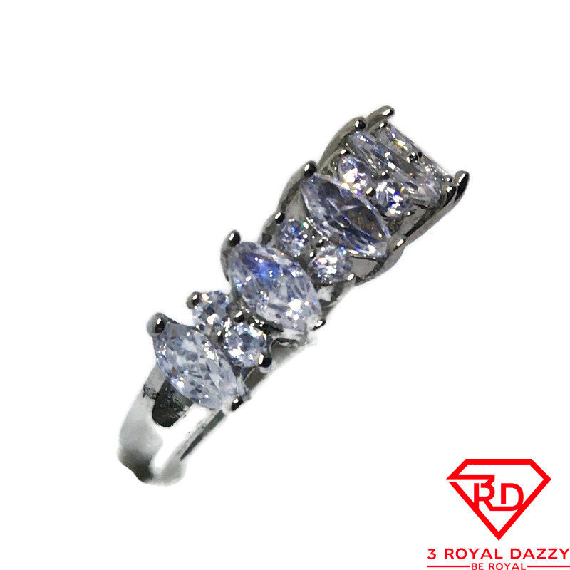 White Marquise & round CZ Stainless Steel Ring S6