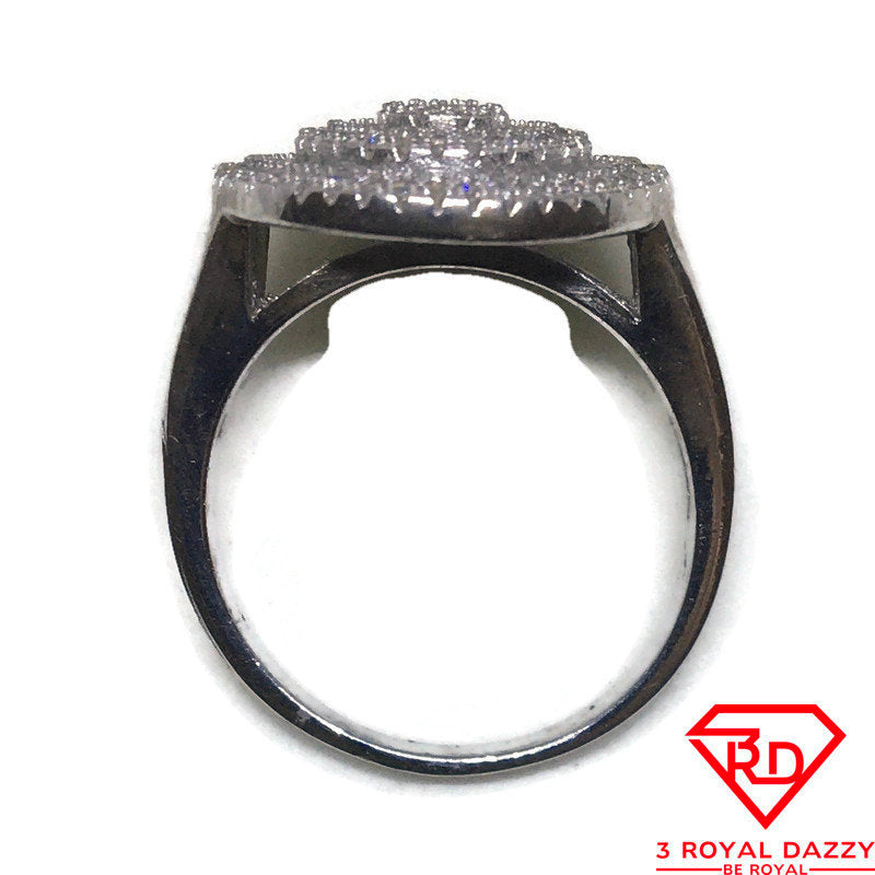 Big White Round CZ White gold on silver Ring S8