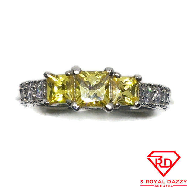 Yellow Princess CZ White gold on silver Ring S6