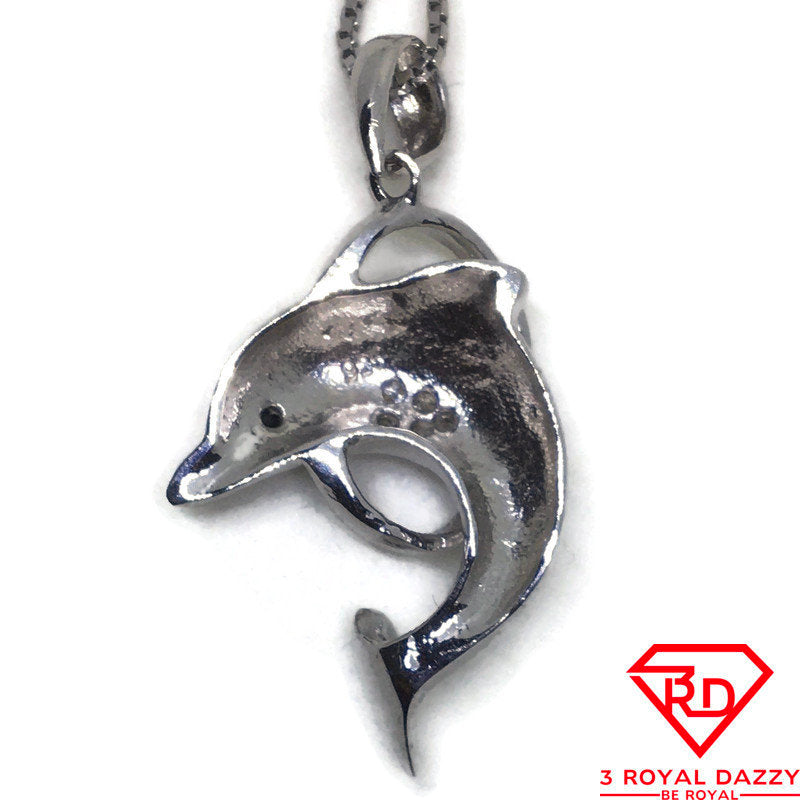 Dolphin jumps Hoop CZ white gold on silver pendant