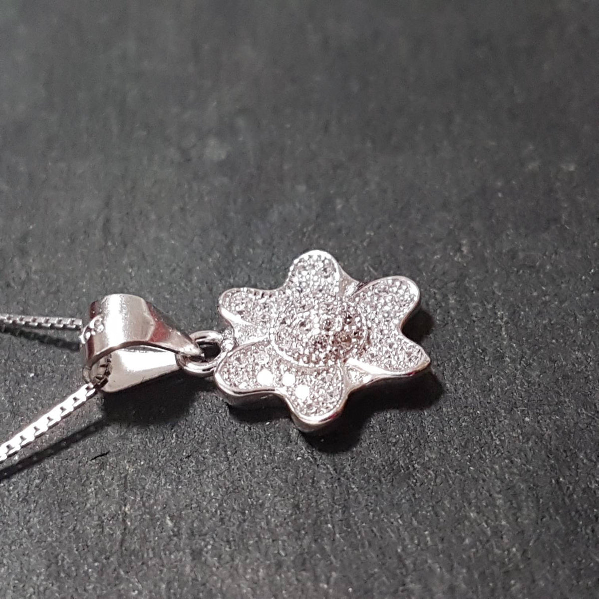 New 14k White Gold On 925 Child Flower Pendant Charm