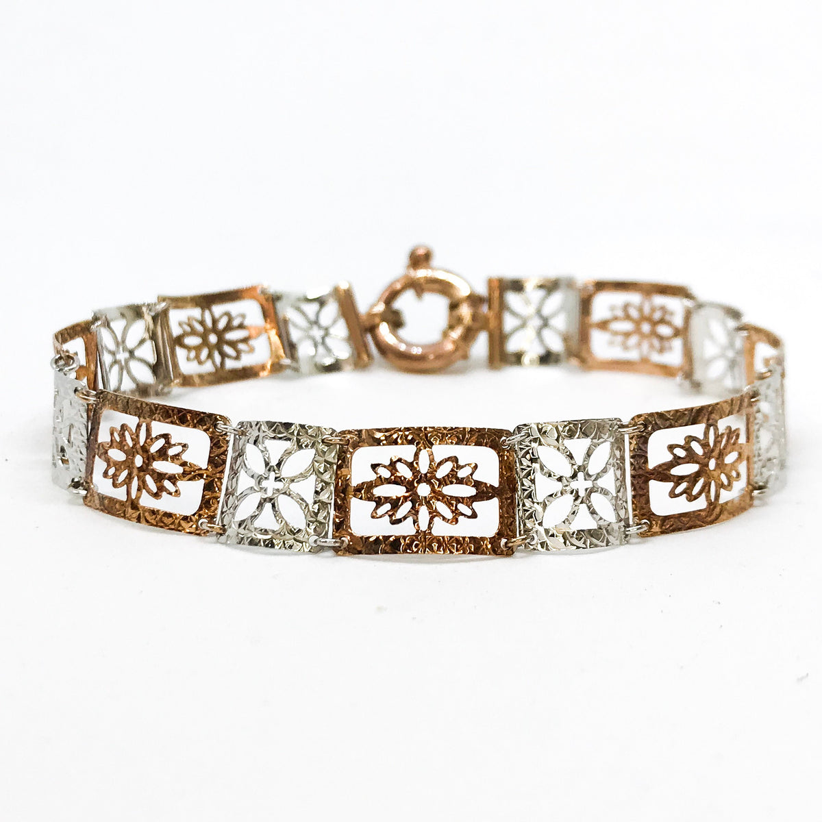 NEW .925 Sterling Silver  Layered with White and Rose Gold Thin Floral Bracelet - 7.5""
