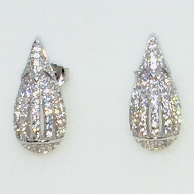 14k White Gold Layered Tear Drop shaped CZ on 925 Solid Sterling Silver Stud Earrings ( 7 . 8 mm )