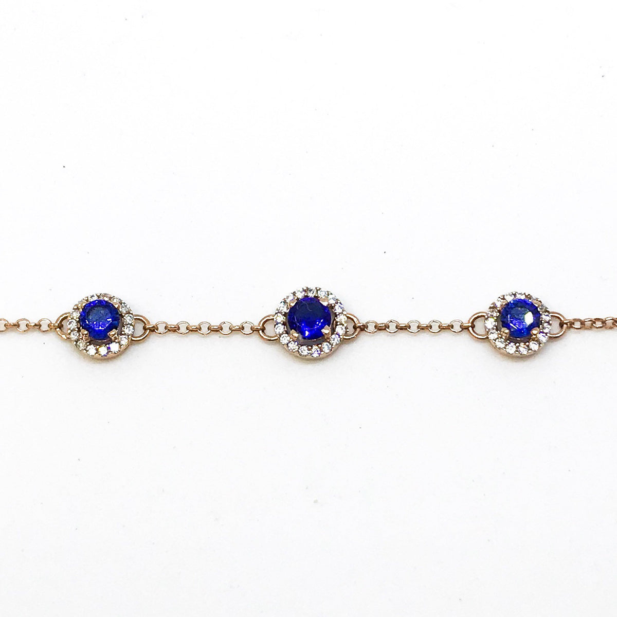 New 14k Rose Gold Layer On 925 Sterling Silver Cz Circle Blue Stones Link Bracelet 0.7 mm -8""