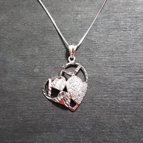 New 14k White Gold on 925 Encompassed Hearts Charm Pendant with free chain