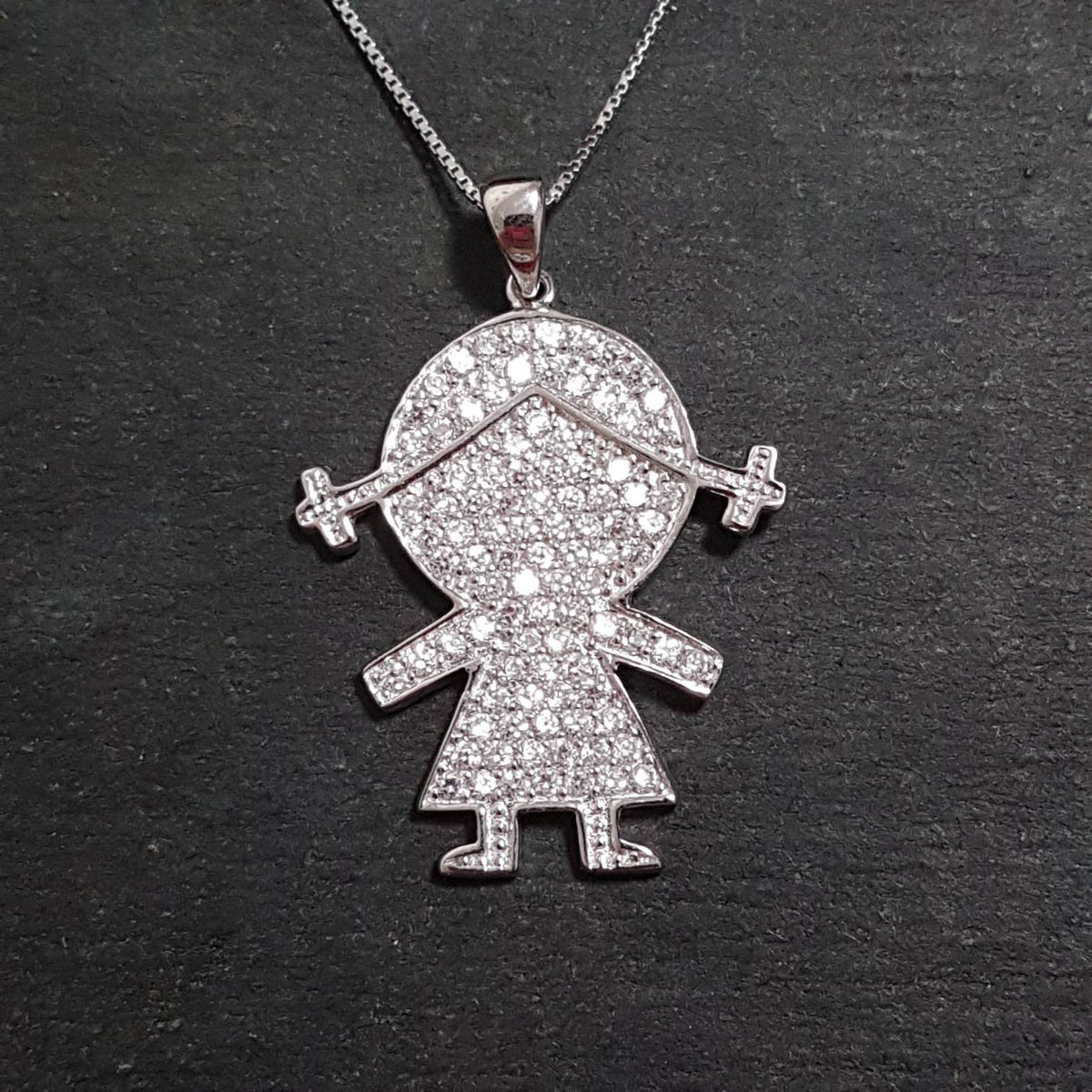 New 14k White Gold On 925 Girl Child Pendant Charm