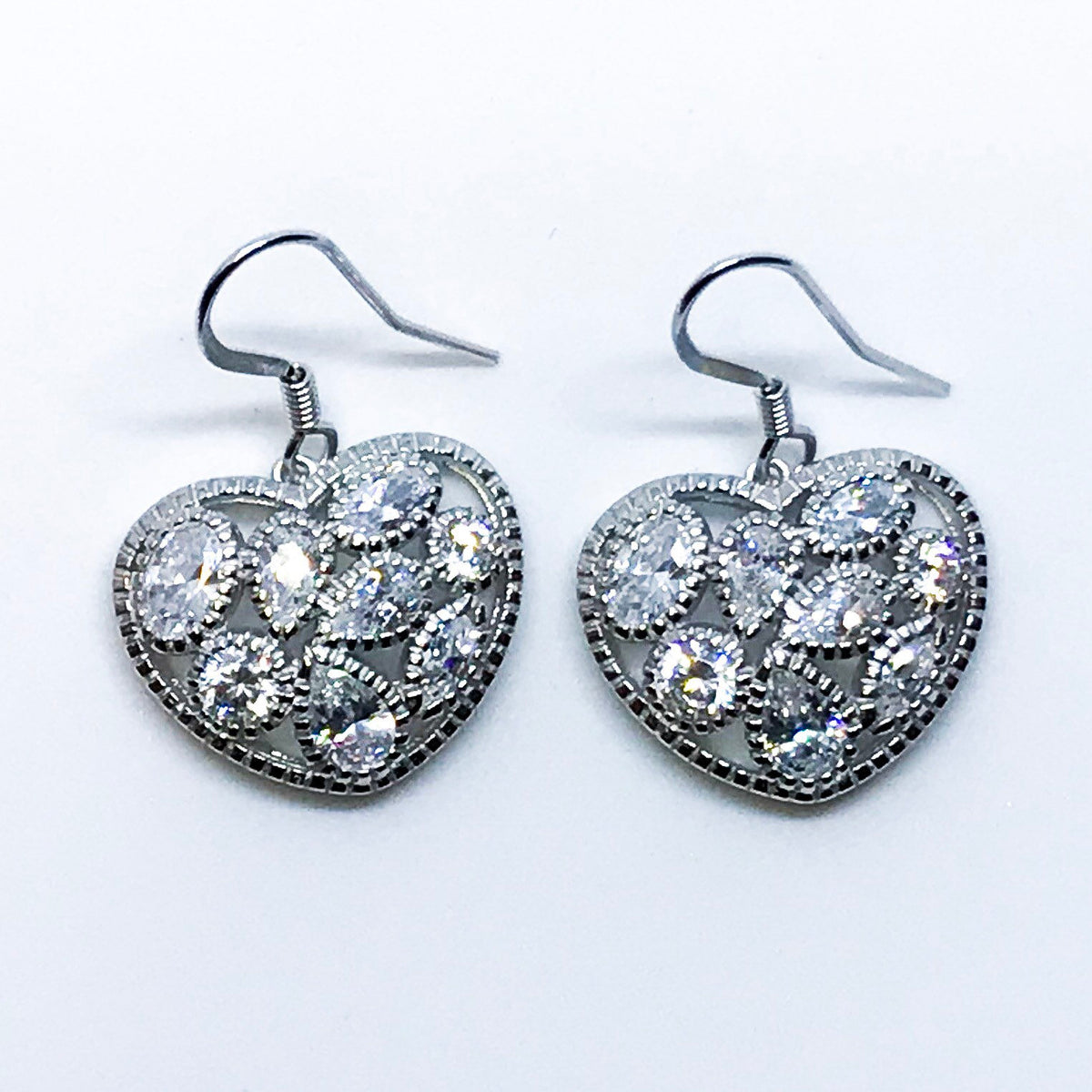 14K White Gold on Sterling Silver Dangling Heart Shaped Earrings - 3 Royal Dazzy