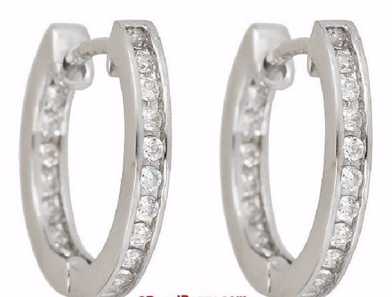 18k w. gold layer Brilliance Channel set inner & outer CZ Hoop Huggie Earring - 3 Royal Dazzy