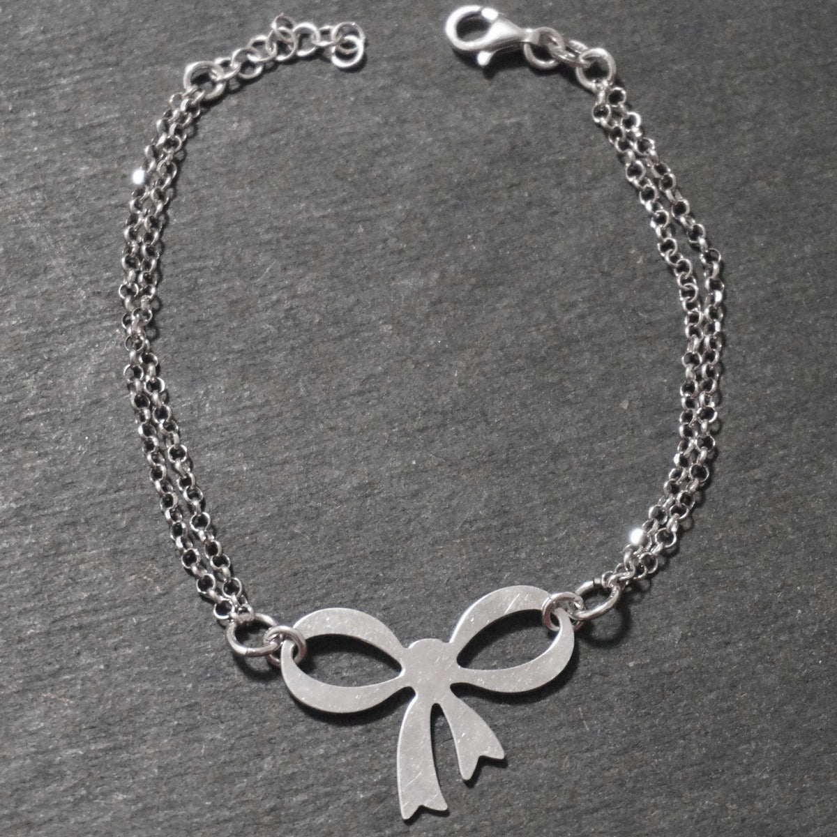 New 14K White Gold on 925 Sterling Silver Christmas Merry Bow Double Chain Bracelet (185.42 mm)