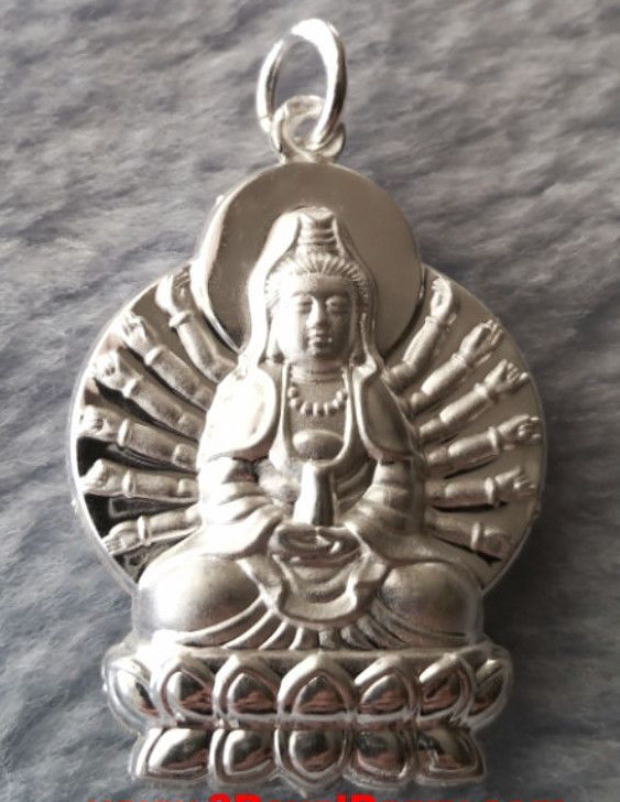 Beautiful Everyday Asian GuanYin Goddess Buddha .999 Fine Silver Hollow Pendant