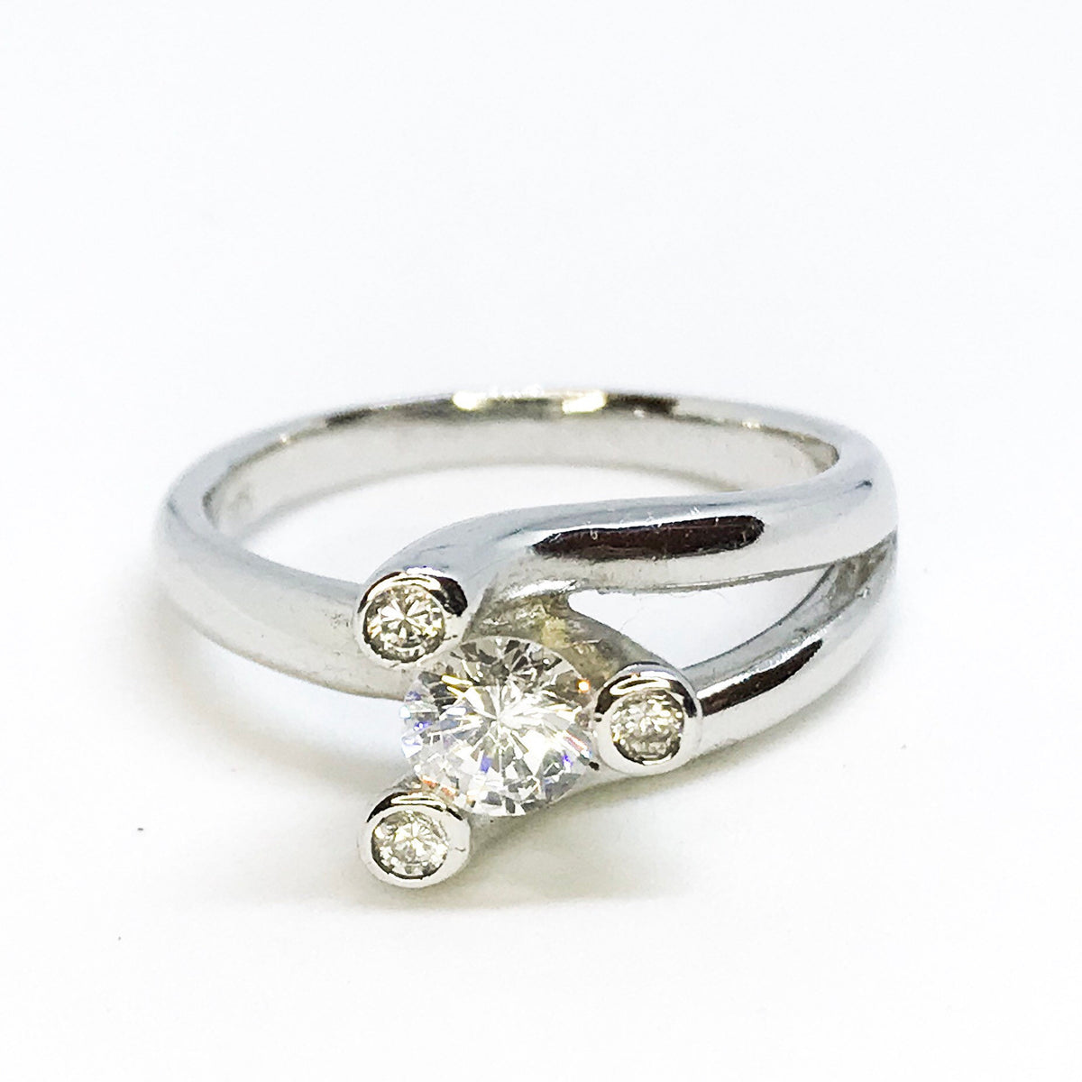 NEW 14K White Gold Layered on Sterling Silver Triangle Ring
