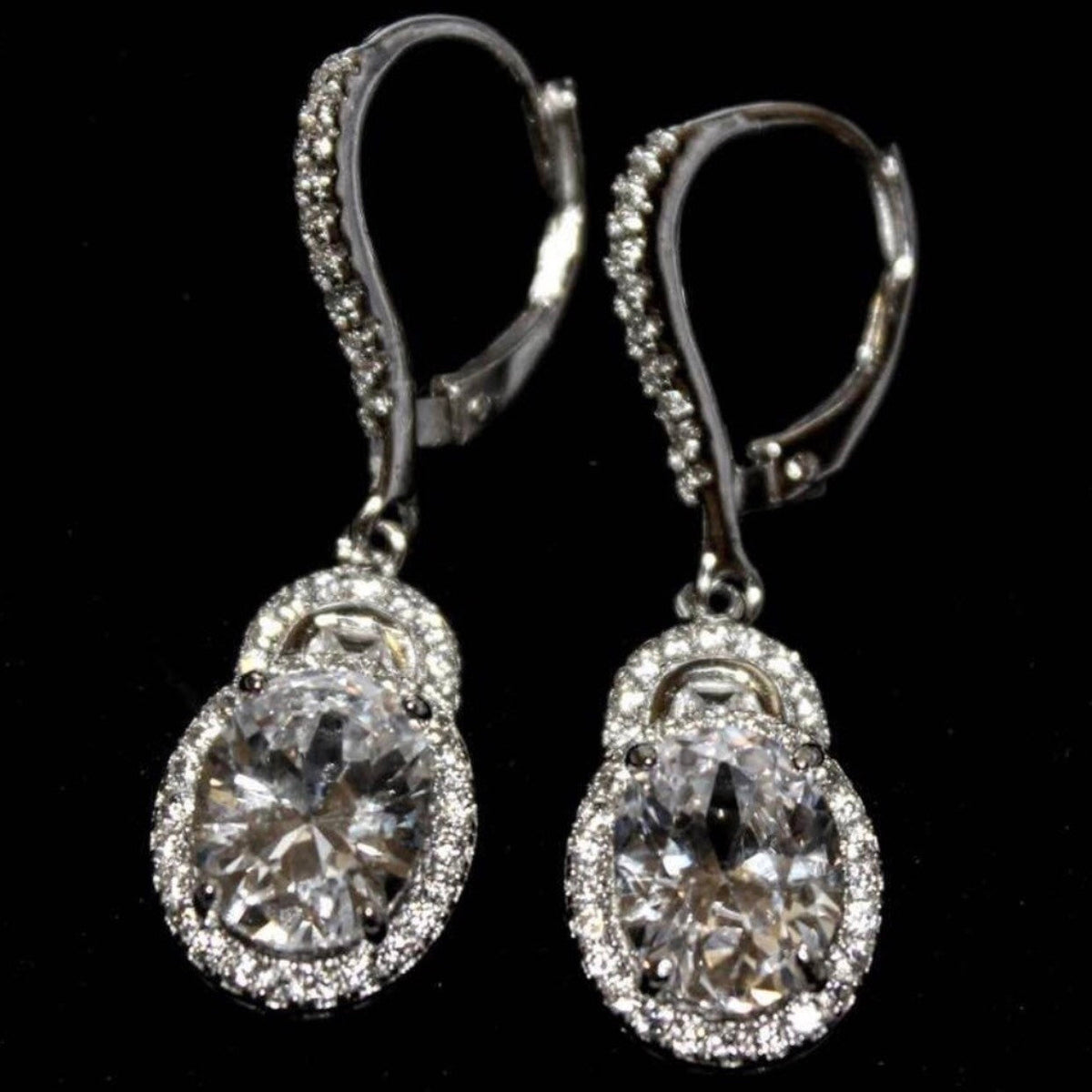 14k white gold on 925 silver dangling earring - 3 Royal Dazzy