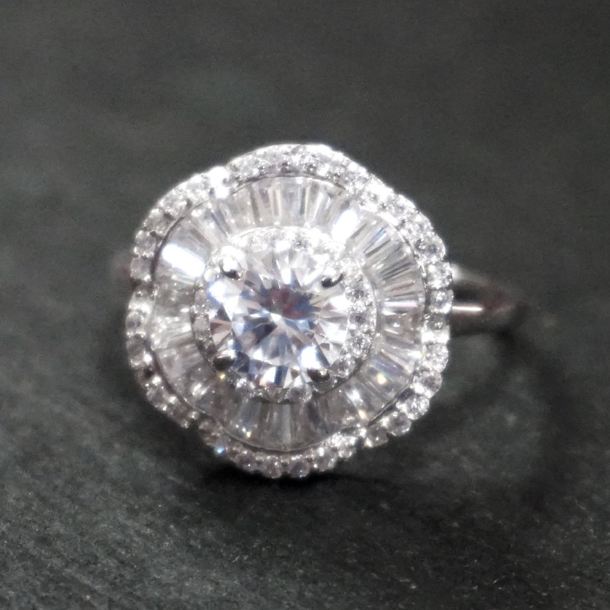 New Cubic Zirconia Handmade 14k Layer On 925 Sterling Silver Floral Round & Baguette Cut Engagement Ring ( Size : 1 0 . 2 5 )