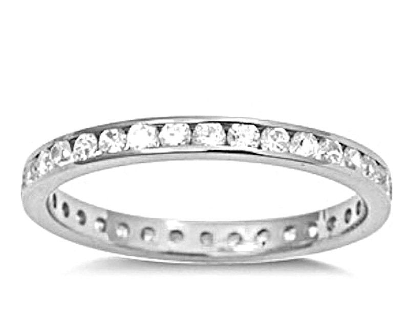 14k W Gold layer on Sterling Silver Wedding 1.00ct- CZ Eternity Ring Band Size 9 - 3 Royal Dazzy
