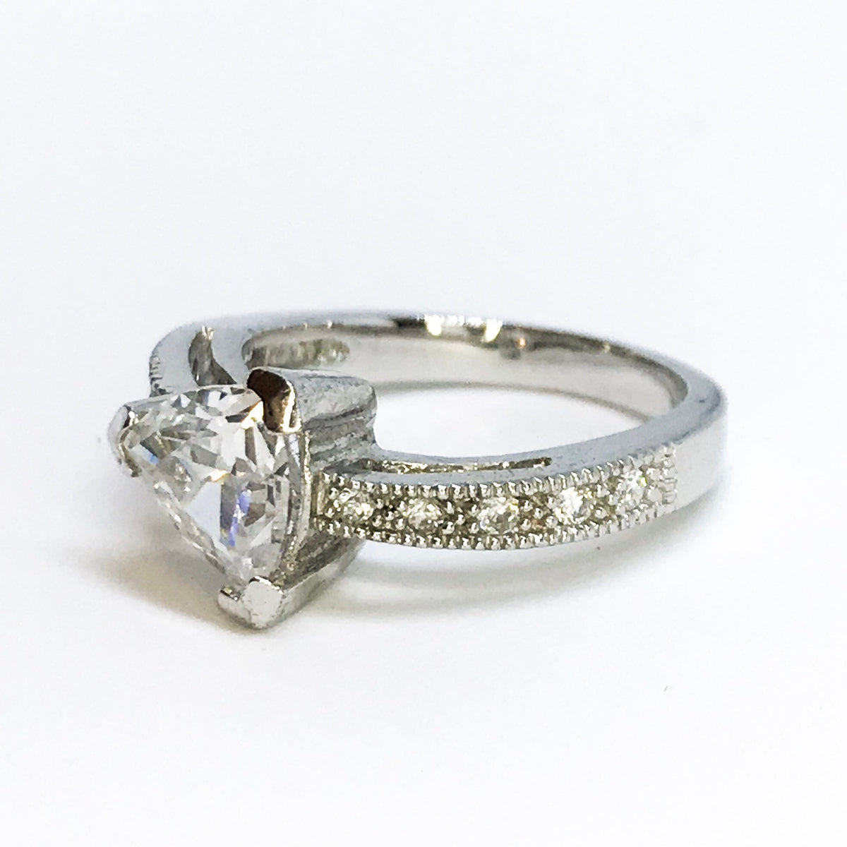 NEW 14K White Gold Layered on Sterling Silver Triangle Detailed Ring
