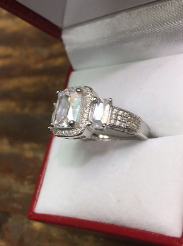 Halo Past Present Future Cubic Zirconia Handmade Engagement Wedding ring S- 8.25