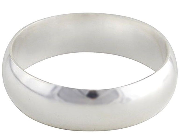 Solid 999 Fine Silver high polished glossy plain wedding Ring Band 5.7 mm S- 5.5